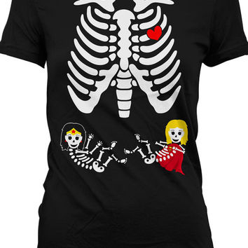 Pregnant Skeleton Shirt Pregnancy Halloween Costumes Twin Pregnancy Announcement Maternity Skeleton T Shirt Superhero Twin Girls Ladies M546