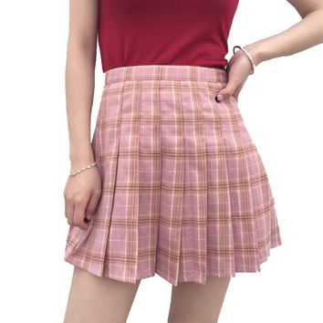 Women Harajuku Plaid Skirt Preppy Style Kawaii Lolita Mini Skirts Cute School Uniforms Saia Faldas Ladies Jupe SK5009