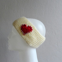 Knit Heart Headband Cream and Red, Ear warmer, Headwarmer, Head Wrap, Gift under 25, Gift for her