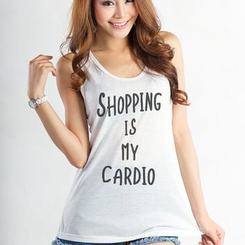 Shopping is my cardio Tank Top Women Girls Yoga Racerback Funny Workout Fitness Hipster Fashion Sassy Tumblr Quotes Blogger Gifts Teenage