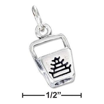 Sterling Silver Charm:  Three Dimensional Chinese Food Take-out Box Charm