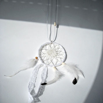 RESERVED Dream catcher crochet lace necklace white tribal beaded, feather jewelry dreamcatcher