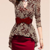 Red Lace Splicing Packet Buttock Long Sleeves Peplum Dress