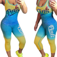 Victoria Summer New Fashion Letter Print Sports And leisure Vest Top And Pants Two Piece Suit