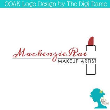 OOAK Premade Logo Design: Makeup Artist Lipstick in Red and Black with Glitter Texture