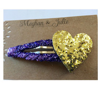 LARGE Heart Snap Clip in purple and gold, Jumbo Gold and Purple Hair clip, large glitter snap clip  Meghan and Julie by Meghanandjulie