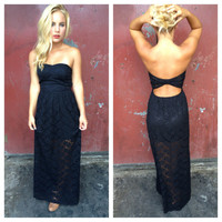 Black Lace Strapless Open Back Maxi dress