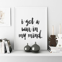 Lana Del Rey Quote Vinyl Wall Decal Sticker Art Song Lyrics I Got War In My Mind Wall art Inspirational print Home decor Typographic print