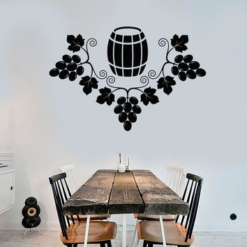 Vinyl Wall Decal Grapes Barrel Wine Alcohol Winemaker Stickers Unique Gift (1744ig)