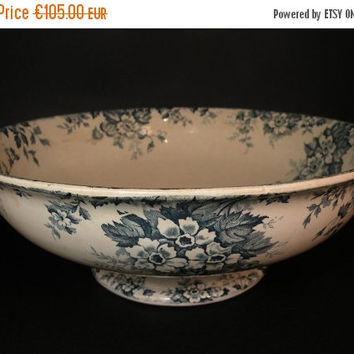 SALE-15% OFF French antique bowl. French earthenware bowl, St Amand bowl. ironstone bowl bowl, antique ironstone, french dining. transferwar