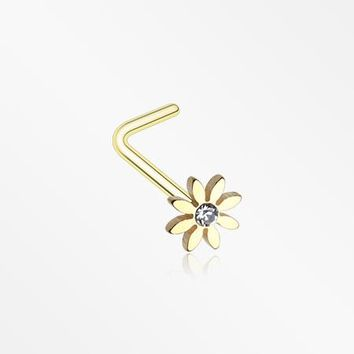 Golden Cutesy Daisy Flower Sparkle L-Shaped Nose Ring