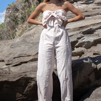 Still Together Sand Front Tie Strapless Jumpsuit