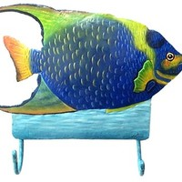 Tropical Fish Painted Metal Wall Hook - Blue Angelfish - Towel Hook