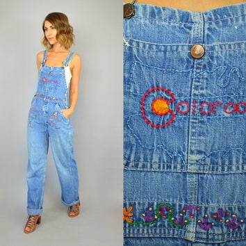 vtg 70s Embroidered COLORADO Sanforized ski bum Loveland Ski Resort birds DENIM OVERALLS dungarees bibs, extra small-small