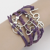 Fashion Lovely Brief Love/Metal/Hello Kitty Leather Braids Purple Bracelet