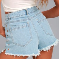 Grommet Your Match Light Wash Distressed Denim Shorts