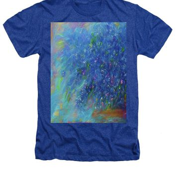 Blue Flowers Abstract - Heathers T-Shirt
