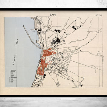 Old Map of Safi Morocco Vintage Map