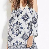 White Porcelain Printing Cold Shoulder Mini Dress