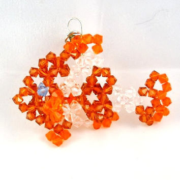 Clown Fish Charm Zipper Pull Swarovski Crystals