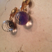 Vintage Crystal Earrings Faceted Ball Dangle Costume Jewelry