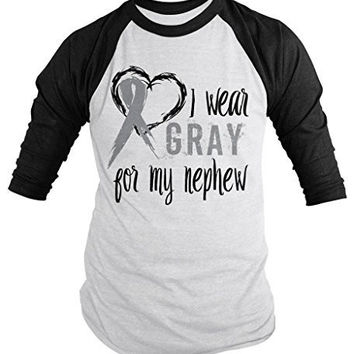 Shirts By Sarah Men's Wear Gray For Nephew 3/4 Sleeve Brain Cancer Asthma Diabetes Awareness Ribbon Shirt