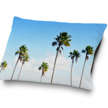 North Beach Palms - Pet Bed, Beach Surf Style Tropical Palm Trees, Blue & Green Companion Home Decor Bedding Accent. In 18x28 30x40 40x50