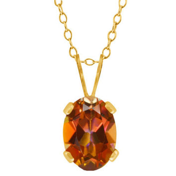 0.95 Ct Oval Shape Ecstasy Mystic Topaz Yellow Gold Plated Brass Pendant