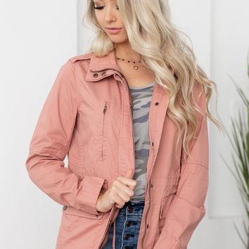 Neveah Collar Neck Jacket | Pink