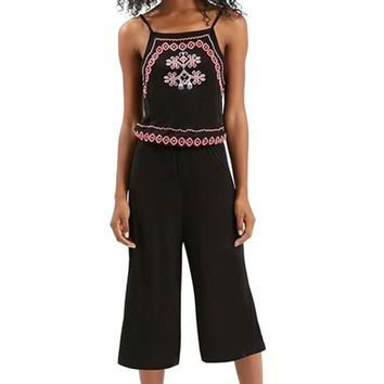 Women's Topshop Embroidered Culotte Jumpsuit,
