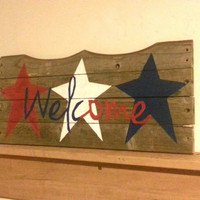 Rustic wood, Welcome sign, Red White and Blue, stars, memorial day, 4th of July, primitive American, reclaimed, pallet wood