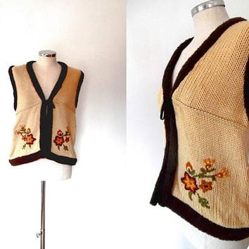 Knitted embroidered shrug waistcoat / golden cream / brown / rust orange / floral / fleece / boho / vintage / faux suede / tie waistcoat