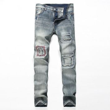28-38 Big Size jeans men Casual Ripped Jean Pants Adult  Blue Retro Straight Male Trousers Classic Club denim Jeans