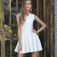 Jacquard V-neck Sleeveless Solid Short Dress