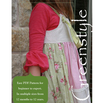 Bella Bubble Sleeve T-Shirt PDF Pattern for Girls Extended Sizes 12 months to 12 Years