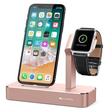 Ivapo Apple Watch Series 3 Stand 2 In 1 Aluminum Apple Watch Charging Dock Iphone Charger Station For Apple Watch Series 3/2/1/nike+ And Iphone X/8/8 Plus/7/7plus/6s/6s Plus/5 Rose Gold