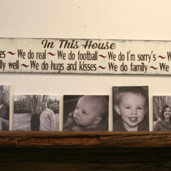 In This House Wood Sign Family Rules Sign Distressed Wood Sign Family Room Sign Shabby Chic Wall Decor Rustic Chic Brwon and White