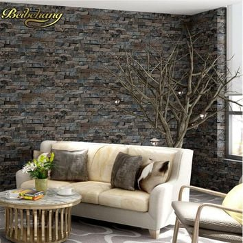 beibehang Brick stone wall paper 3D PVC for Living Room Bedroom Home Decor Grey Vinyl Mural papel de parede Roll wallpaper roll