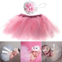 7 Colors New Hot Costume Outfit 0-1Months Newborn Baby Photography Props Cute Sweet Design Photo Props with Headband
