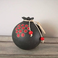 Ceramic pomegranate, lucky pomegranate in dark grey with red beads and red seeds, life size pomegranate with 2018 charm, gouri rodi 2018