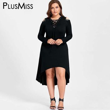 Plus Size 5XL Cold Shoulder High Low Midi Dress Women Autumn 2017 Long Sleeve Leather Lace Up Black Hooded Sweatshirt Dress