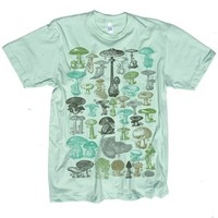 Mushrooms Tshirt Vintage Graphic MENS Tee Seafoam