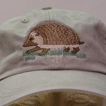 HEDGEHOG HAT - One Embroidered Wildlife Cap - Price Embroidery Apparel - 24 Color Caps Available