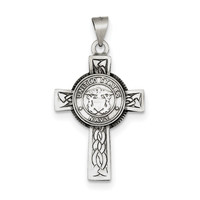 Sterling Silver US Navy Cross Pendant QC4409