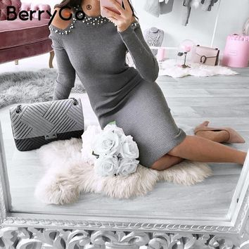 BerryGo Sexy off shoulder bead bodycon winter dress Women knitted sweater dress casual Elegant autumn red dress vestidos jumper
