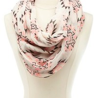 Tribal Print Infinity Scarf by Charlotte Russe - Ivory Combo