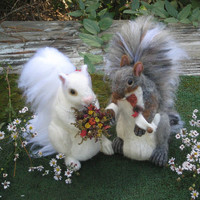 Handmade Animal Sculptures /  Wedding Cake Topper /  2 Needle Felted Squirrels  / by Fiber Artist GERRY / Ex Large