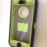 Custom Glitter Green Agave Otterbox Defender Series Case for iPhone 5 Olive Green.