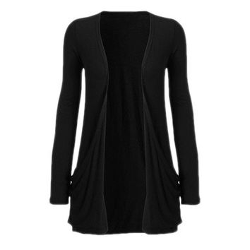 Women Fashion Black Tops Knit Cardigan Coat Jacket Overwear [8833536780]