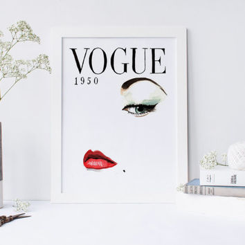 Printable art FASHION COVER PRINT;1950 cover vogue print,prints and quotes,wall art,home decor,fashion poster,fashion decor,poster art,